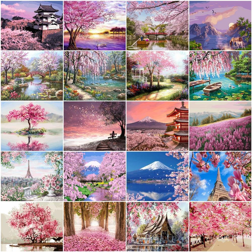 HUACAN  numbrite järgi maalimine / maalimiskomplekt 20 erinevat pilti pastelsetes toonides loodusvaated / 50x40cm ilma raamita