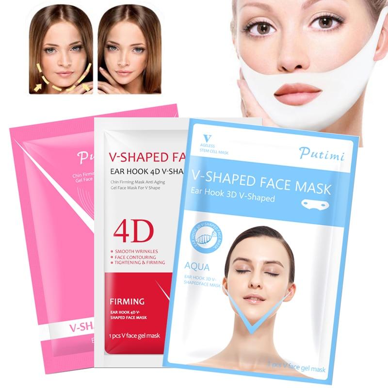 PUTIMI Hydrogel Face Mask Slimming Double Chin Lifting Face Mask Bandage Anti Aging Lift Peel-off Mask 4D V Shaper Sheet Masks(China)