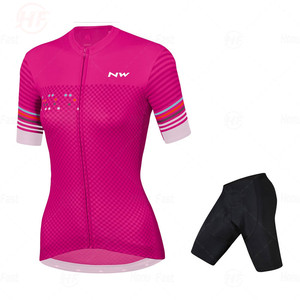 Fashion Lady Pro Team Cycling Jersey Set Women Summer Bike Clothes MTB Ropa Ciclismo Bicycle Uniforme Maillot Quick Dry 19D Pa