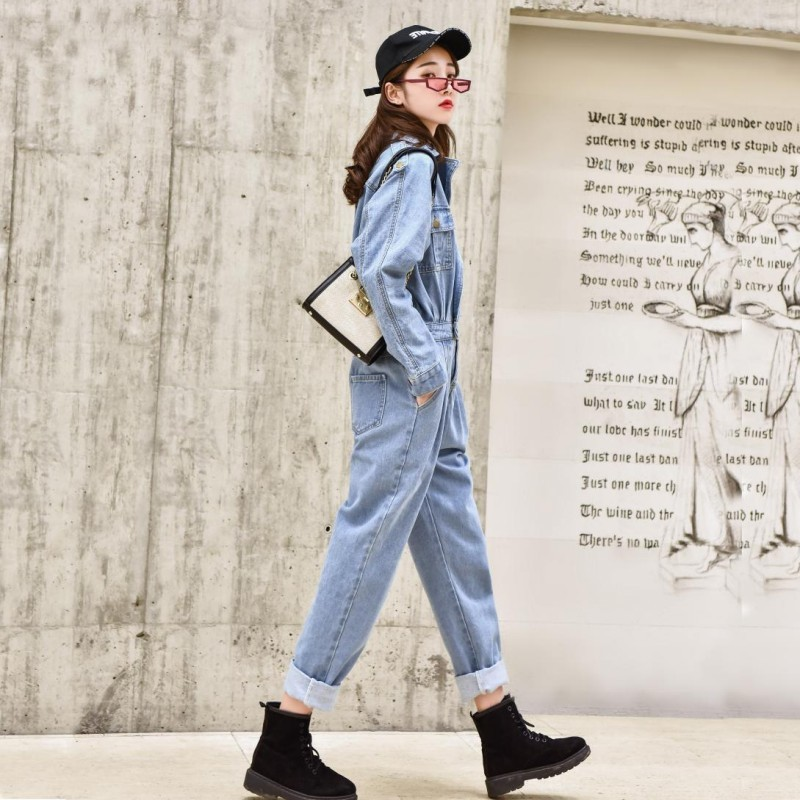 Spring Fashion Loose Fit Jeans Jumpsuit Women Rompers 2020 High Waist Denim Overalls Student Ankle-Length Pants Female Playsuits