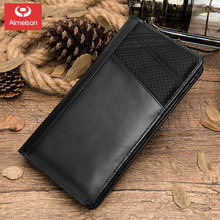 Business Men's Leather Clutch Long zipper Multi-function Card Passport Coin Purse christmas 013