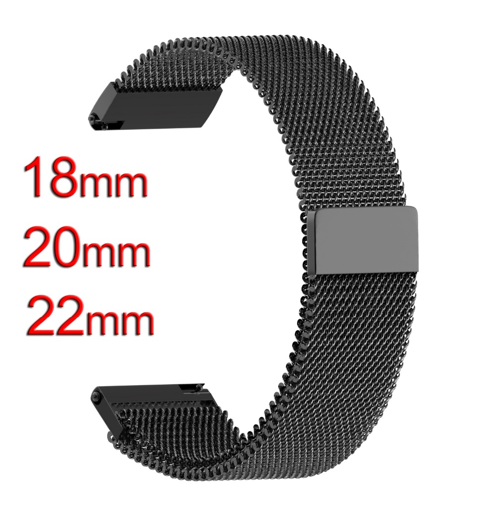 18mm 20mm 22mm For Samsung Gear Sport S2 S3 Galaxy 42mm 46mm Bands Steel Milanese Strap For Galaxy Watch Active 40 44 Huawei GT