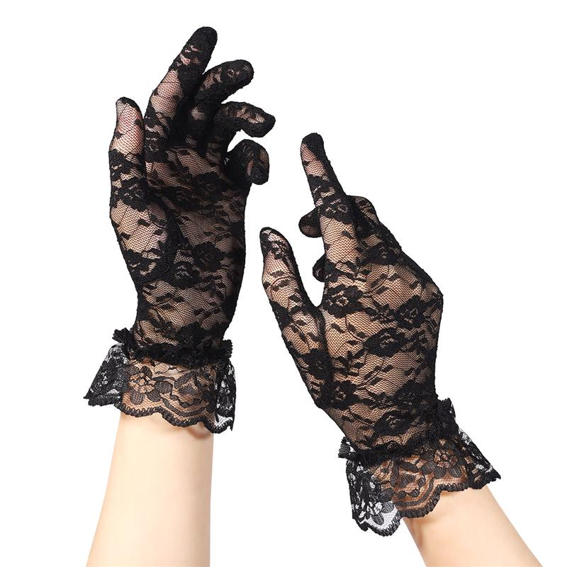 Summer Women Short Lace Gloves Anti-UV Sun Protection Full Finger Gloves Outdoor Driving Gloves Prom Party Wedding Lace Gloves