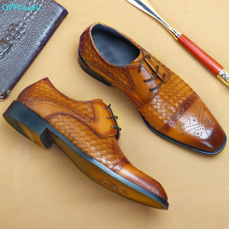 QYFCIOUFU/мужские тканые туфли оксфорды из натуральной кожи; Цвет черный, шоколадный; Деловые модельные туфли для мужчин; Качественная мужская о