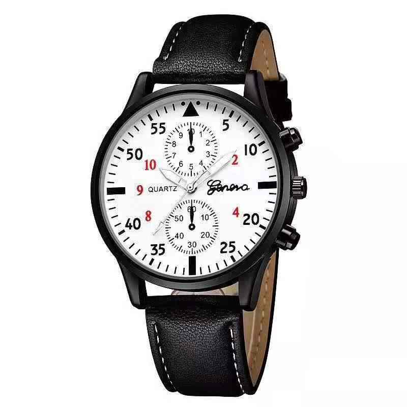 Fashion Pria Jam Tangan Kasual Pu Kulit Band Olahraga Watch Kuarsa Wrist Watch Clock Pria Jam Pria Warna C087