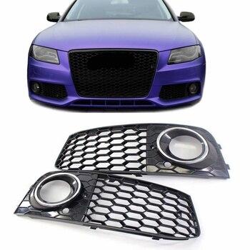 Grille de calandre pour Audi A4 | 1 paire, pour antibrouillard, maille nid dabeille, phare ouvert, Grille pour Audi A4 B8 RS4 Style 2009-2012