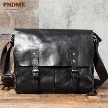 PNDME casual de lujo natural genuino de los hombres de cuero bolsa de mensajero de trabajo diario Cuero de vaca real negro tabletas A4 documento hombro bolsa