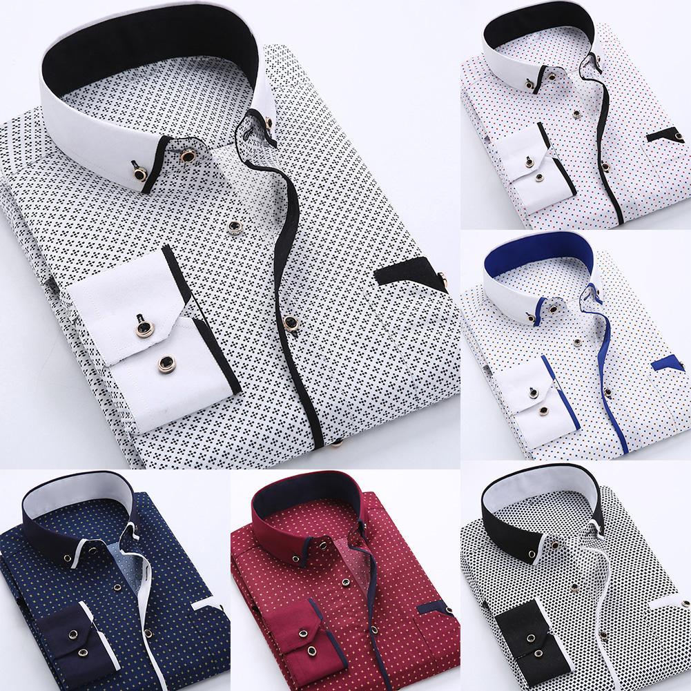 Business Men Plus Size Buttons Turn Down Collar Long Sleeve Shirt Top Men Fashion Casual Long Sleeved Printed Shirt Man