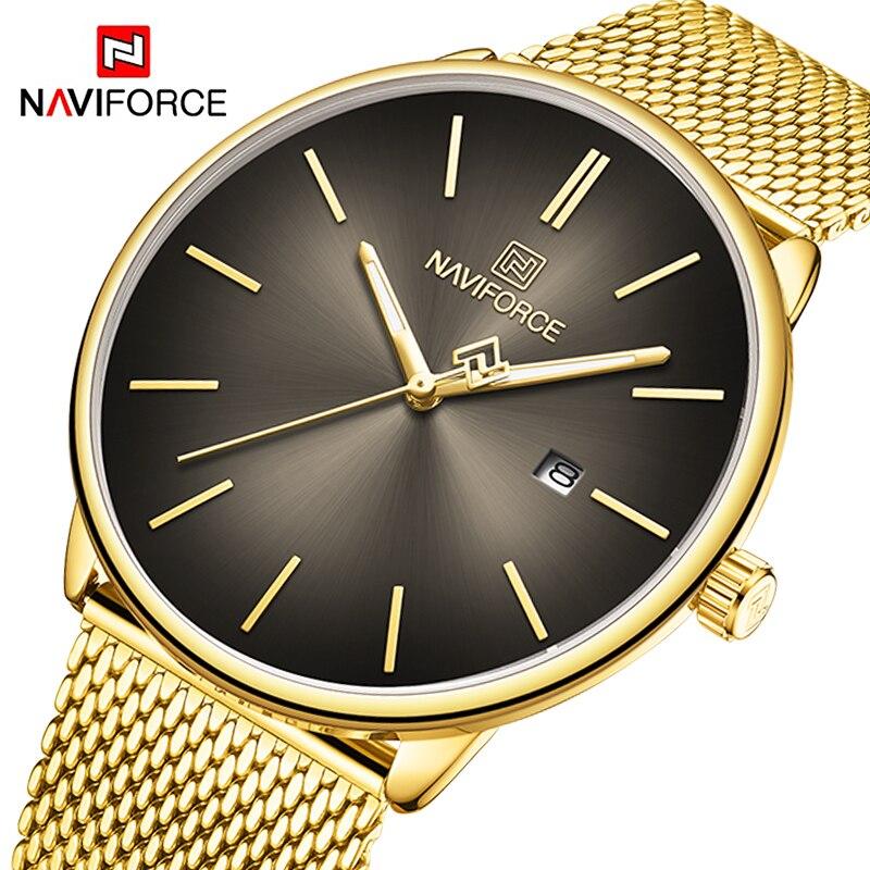 NAVIFORCE Lover's Watch Mens Watch Simple Luxury Quartz Wristwatch Women Clock For Male Female Waterproof Couple Gold Watch 2020