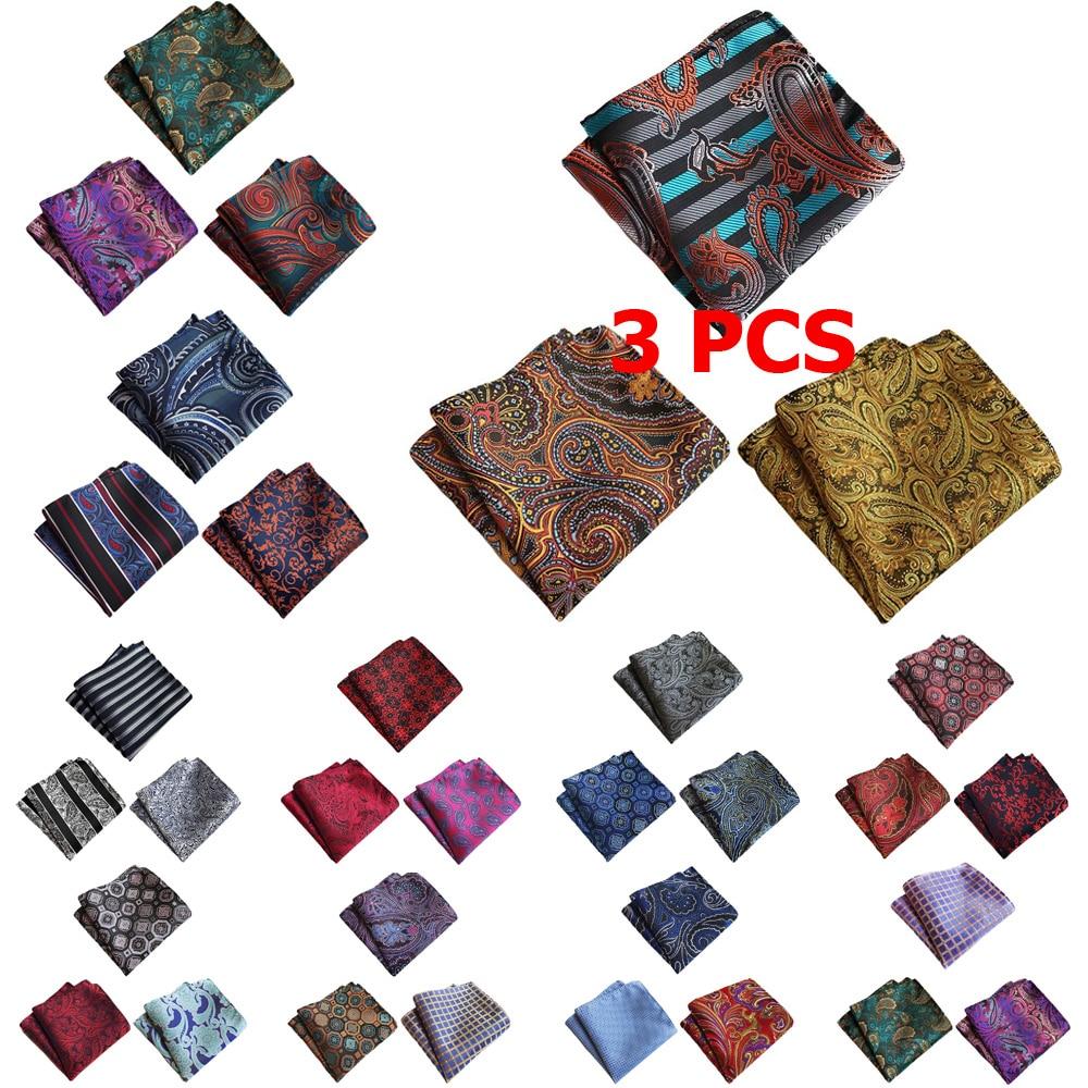 3 PCS Men Stripe Flower Paisley Pocket Square Handkerchief Wedding Party Hanky