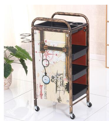 New Retro Hairdresser Beauty Stroller Barber Shop Hot Dyeing Tool Car Hair Salon Trolley Bar