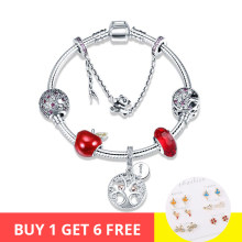 100% 925 Sterling Silver tree of Life and red apple charms beads Bracelets & Bangles Fashion diy Jewelry making for women gift(China)
