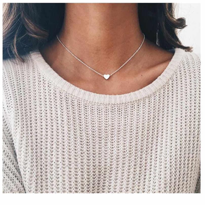 2019 새로운 골드 실버 도금 작은 심장 목걸이 여성 목걸이에 대 한 bijoux 패션 쥬얼리 쇄골 펜 던 트 목걸이