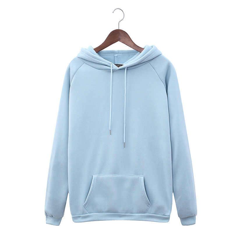 Warm Hooded หญิงเสื้อฤดูหนาว 2019 ฤดูใบไม้ร่วงของแข็ง Kpop Hoodies ผู้หญิง Polerones สุภาพสตรี Pullover เหงื่อ Femme