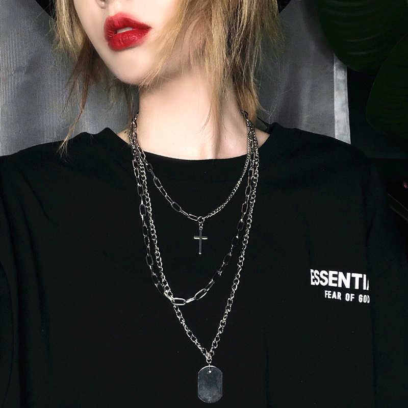 Łańcuch w stylu hip-hop mężczyźni kobiety para naszyjniki naszyjnik wodoodporny mężczyźni Link Curb naszyjnik łańcuszkowy hip hop biżuteria krzyż chain naszyjniki