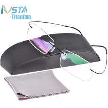IVSTA Silh Shileโลโก้กล่องไทเทเนียมแว่นตาผู้ชายกรอบสายตาสั้นRimlessกรอบผู้หญิงตามใบสั่งแพทย์สีชมพูเงิน