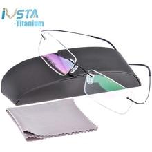 IVSTA Silh shile شعار مع صندوق التيتانيوم نظارات الرجال الإطار قصر النظر بدون إطار بصري النساء وصفة طبية الوردي الفضة