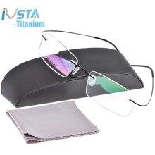 IVSTA lunettes en titane pour hommes, monture optique sans bord, avec boîte, monture optique pour myopie et femmes, Prescription rose argent