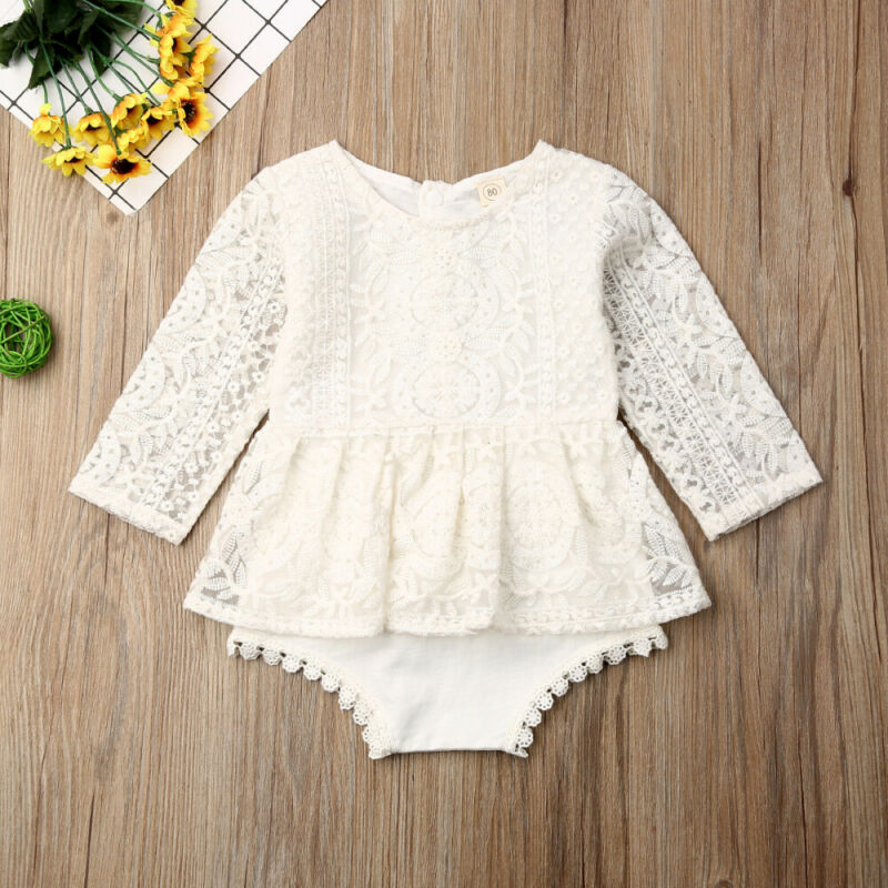 Pudcoco 0-24M Newborn Baby Girls Autumn Clothes Flower Lace Romper Dress Princess Girl Tutu Romper Dress Baby Bodysuit Outfits