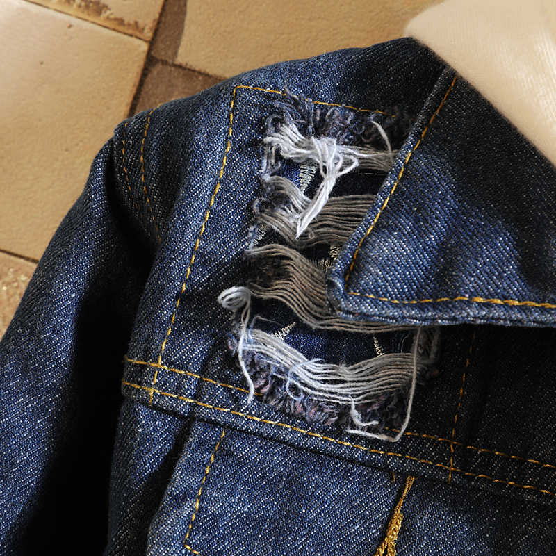 Herfst Gat Denim Jas Mannen Mode Wassen Toevallige Denim Jas Jas Man Streetwear Wilde Losse Hip Hop Bomberjack Mannen m-3XL