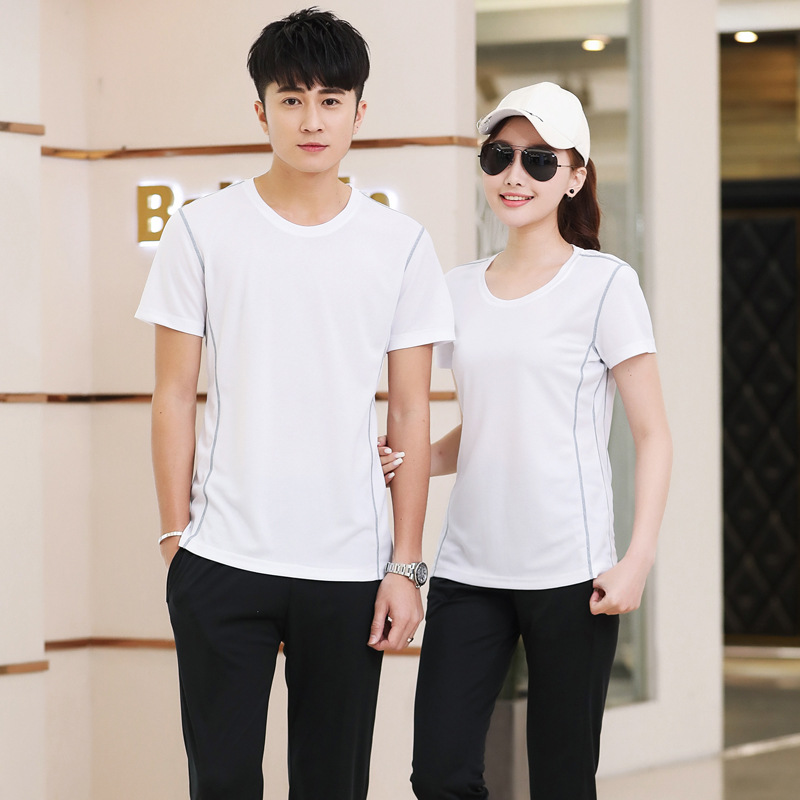 Summer Couples Sports Set Short Sleeve Trousers Men Crew Neck Casual Large Size Running Fitness Sports Clothing WOMEN'S Suit