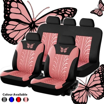 Car Seat Cover Set Butterfly-Pattern Universal Full Auto Styling Interior Accessories