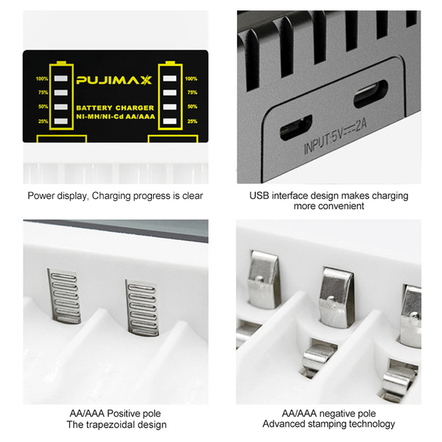 PUJIMAX 4 Slots Electric Battery Charger Intelligent Fast LED Indicator USB Charger For AA/AAA Ni-MH/Ni-Cd Rechargeable Battery 6