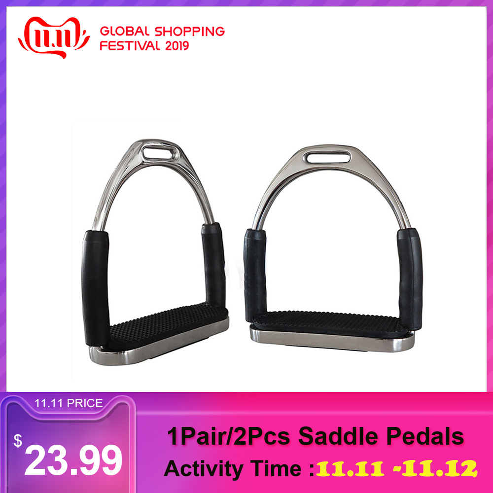 1Pair/2Pcs Saddle Pedals Safety Flexible Anti Slip Racing Stainless Steel Stirrups Horse Riding Device