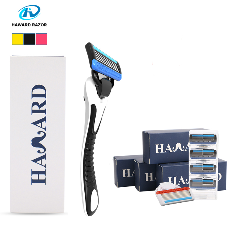 HAWARD Razor System Razor (1 Handle + 18 Cartridges ) Men's Manual Shaver Shaving Razor For Hair Removal