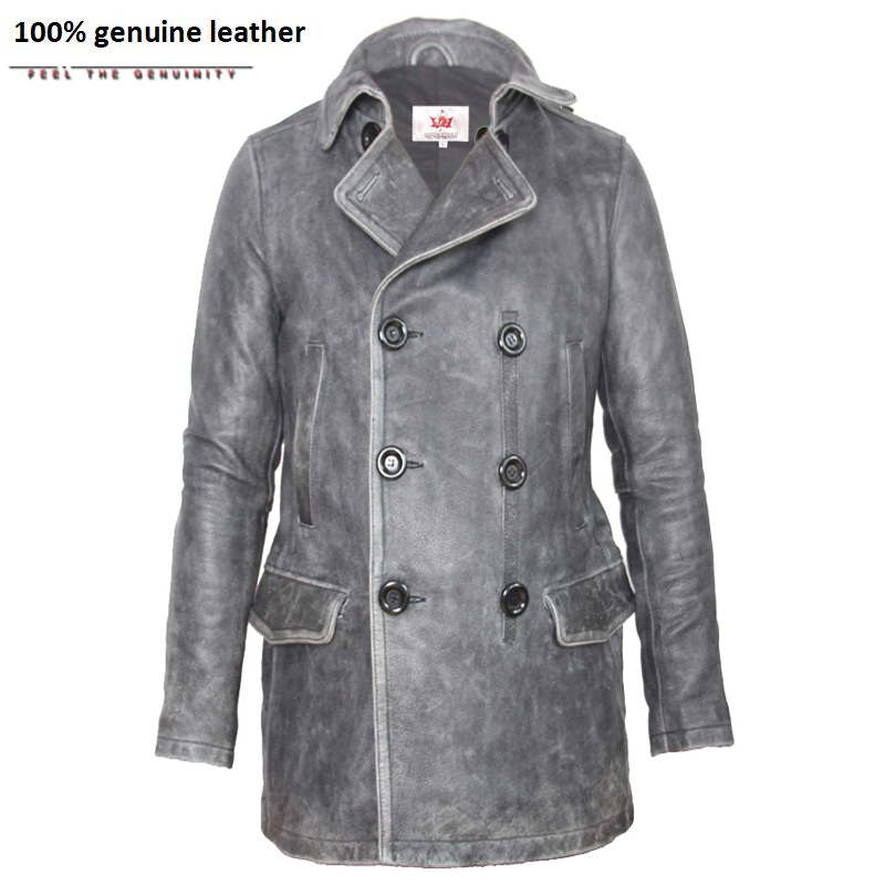 Brand Double Breasted Leather Coat Men Turn Down Collar Vintage Black Slim Men's Long Coat Winter Leather Trench M137