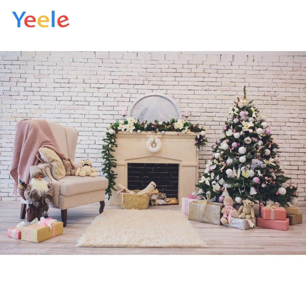Yeele Christmas Tree Toy Doll Gift Background Vinyl Baby Portrait Brick Wall Photography Backdrop For Photo Studio Photobooth