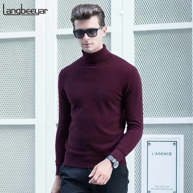 100% Wool Thick Warm New Fashion Brand Sweaters Mens Pullover Turtleneck Slim Fit Jumpers Knitred Autumn Casual Men Clothes