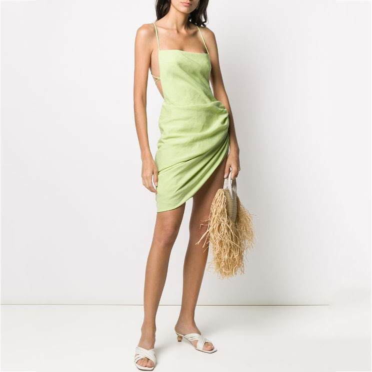 DEAT 02020 New Summer Straps Asymmetrical Covered Hips Drawstring Sexy Vacation Dress Girl's Club Clothing WL94206L