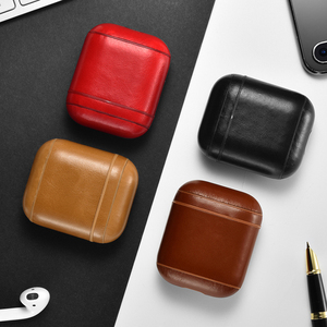 Image 5 - Retro Genuine Leather Headphone Case Storage Bag Cover for Apple Airpods iPhone Bluetooth Earphone Case Boxes Protective Case