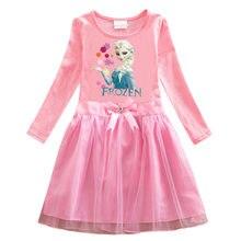 Disney frozen meninas crianças roupas anna elsa vestido menina bebê elsa vestidos para crianças da menina princesa infantil 2-8 anos de idade