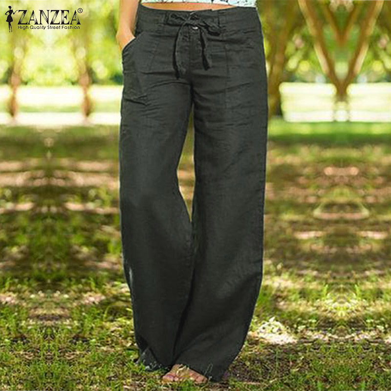 ZANZEA Women Autumn Pants Wide Leg Trousers 2020 Elegant Button Long Pant Plus Size Turnip Lace Up Pantalon Zip Palazzo Oversize
