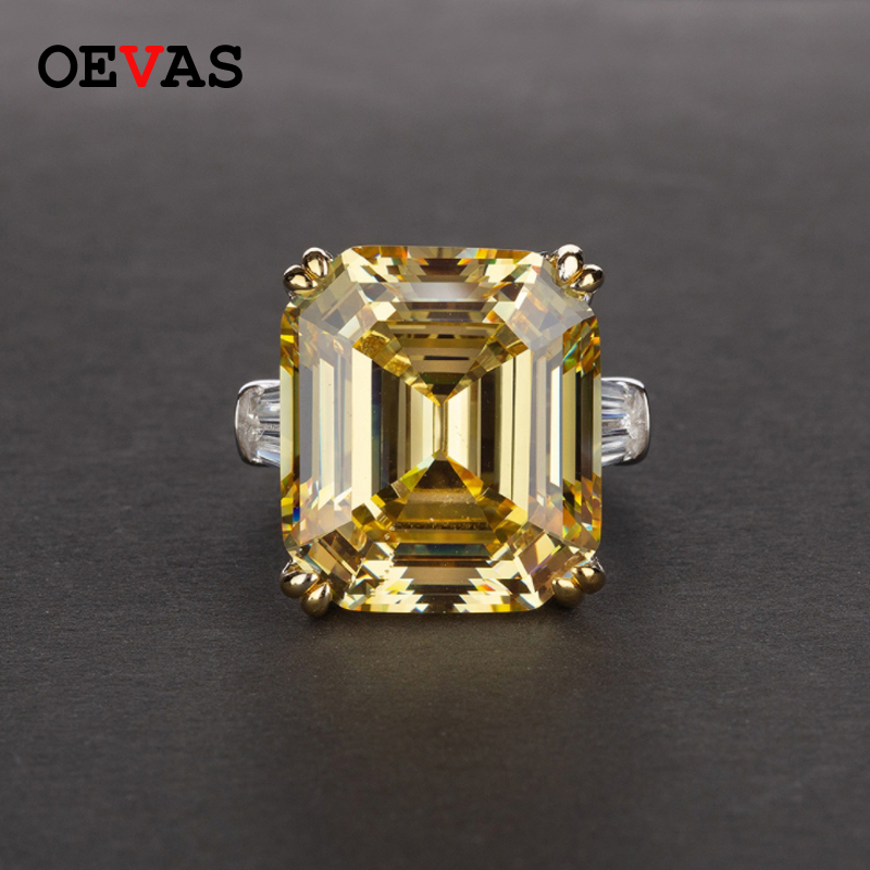 OEVAS Luxury Big Square Pink Yellow White AAAAA+ Zicon S925 Sterling Silver Wedding Rings Girls Birthday Stone Jewelry Dropship 7