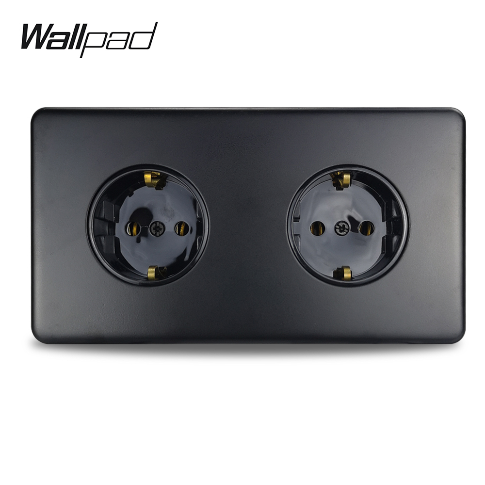 Wallpad Z6 Double EU Plug Power Socket 2 Electric Outlet Black Stainless Steel Plate With Claws Fit EU Box