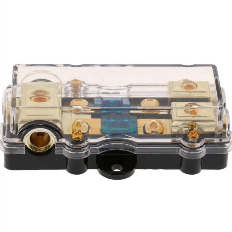 Universal <font><b>Car</b></font> Fusebox Auto Vehicles <font><b>Audio</b></font> <font><b>Amplifier</b></font> 1 In 2 Ways Out 60A Fuse Holder Fuse Box Zinc Alloy image
