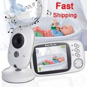 Wireless Baby Monitor 3.2 inch LCD IR Night Vision 2 way Talk 8 Lullabies Temperature monitor video nanny radio baby camera(China)
