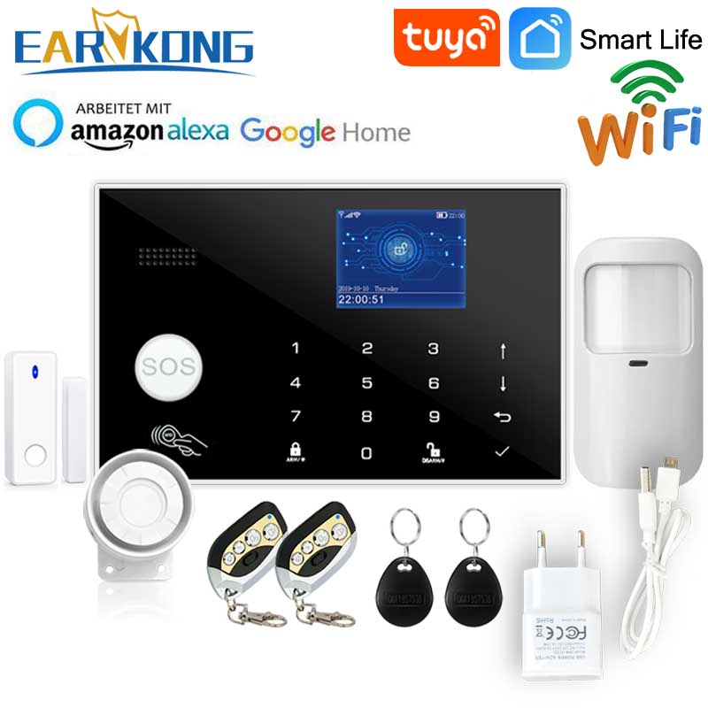Wifi GSM Alarm System Tuya Alarm 433MHz Wireless & Wired Detector Burglar Alarms RFID Card TFT LCD Touch Keyboard 11 Languages