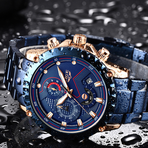 Image 3 - Neue 2020 LIGE Mode Blau Edelstahl Herren Uhren Top Brand Luxus Wasserdichte Quarzuhr Männer Datum Zifferblatt Sport Chronograph