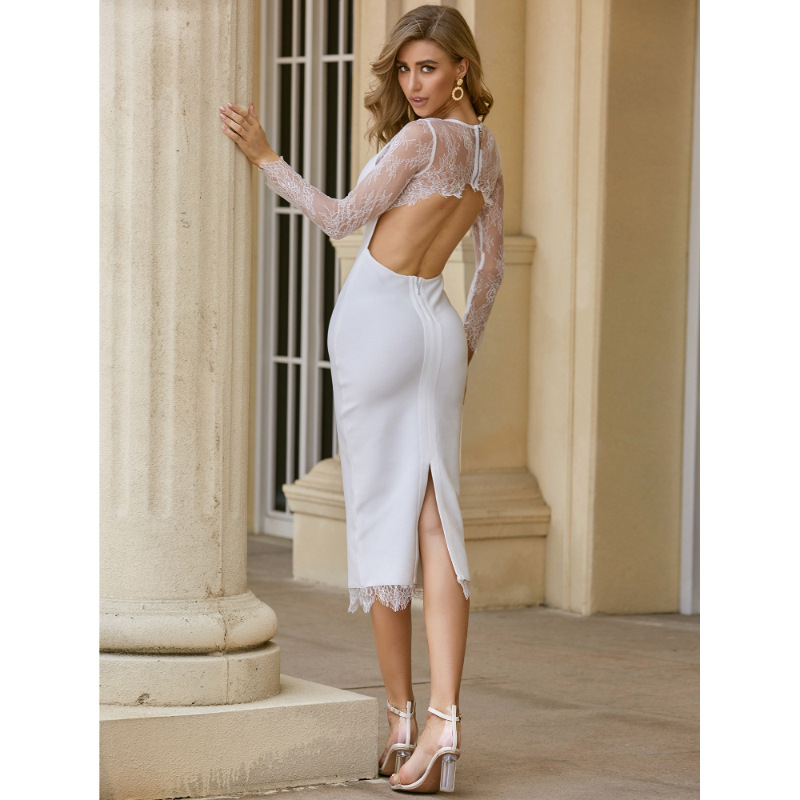 Lace Sleeve White Prom Party Dress for Women Back Hollow Out Wedding Simple