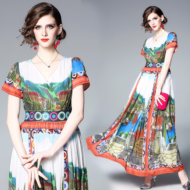 Photo Shoot Spring And Summer New Style WOMEN'S Dress Europe And America Ethnic-Style Printed V-neck High-waisted Long Skirts Dr