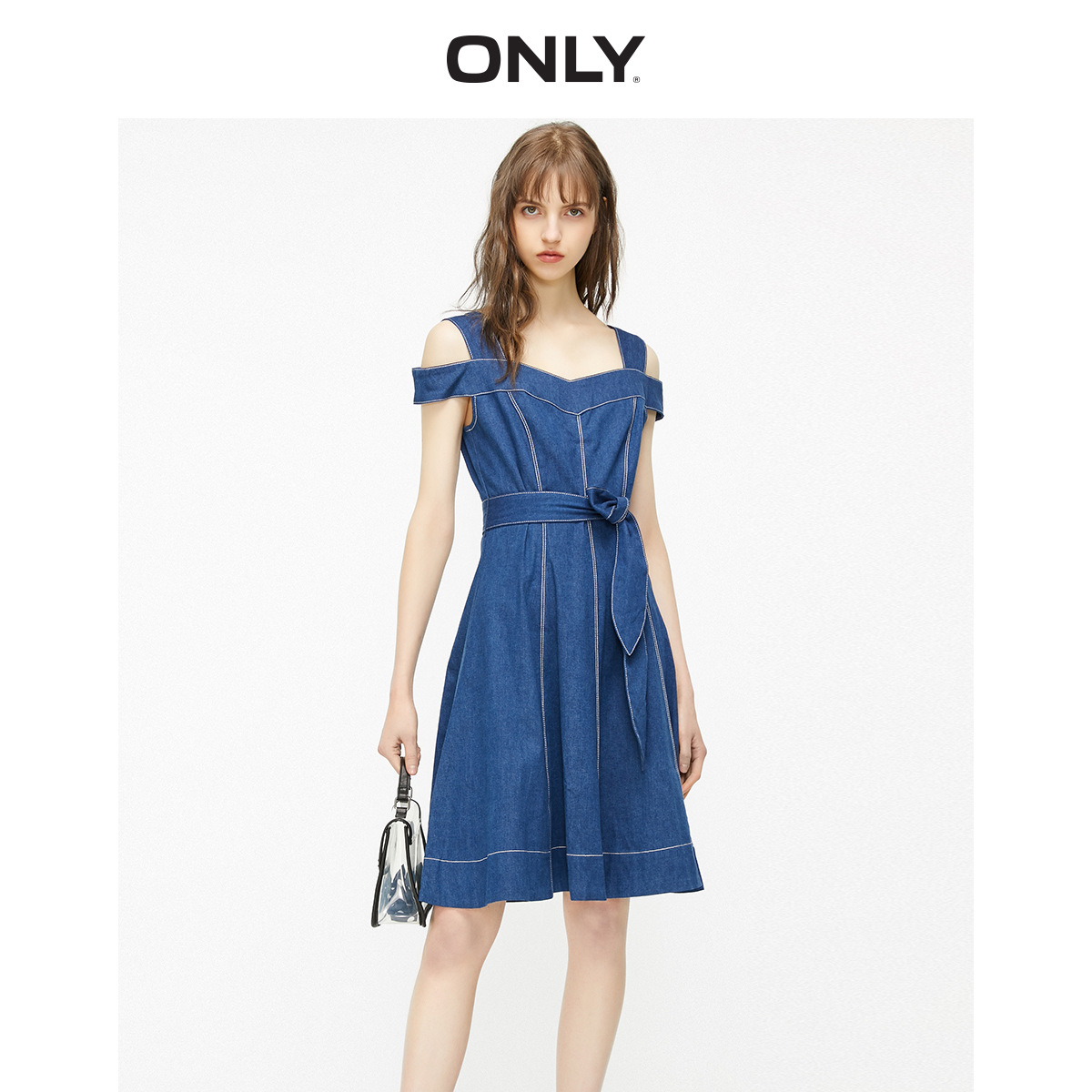 ONLY Women's Slim Fit Lace-up Waist A-lined Denim Dress | 119242507