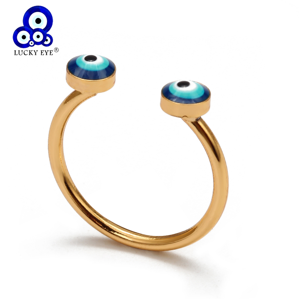 Lucky Eye Blue Turkish Evil Eye Open Ring Gold Color Copper Dropping Oil Ring Party Fashion Jewelry for Women Men EY6572