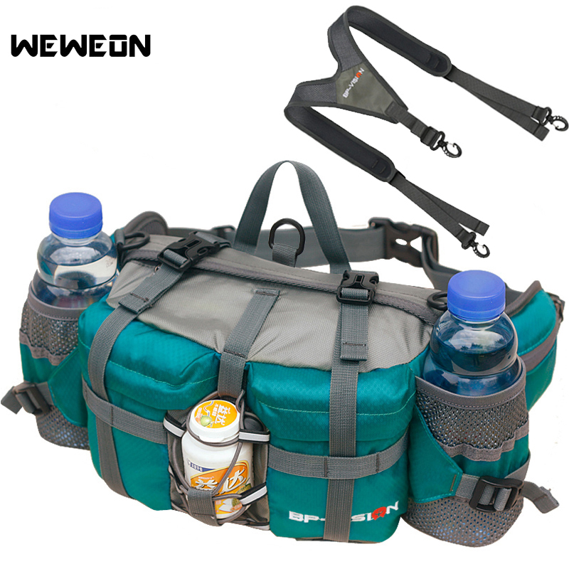 Hiking Waist Pack 11 Colors Foldable Camping Waist Bag For Climbing Light Running Backpack  5L For 6 Water Bottle Double Strap