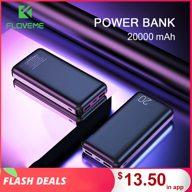 FLOVEME Power Bank 20000mAh Portable Charging Poverbank Mobile Phone External Battery Charger Powerbank 20000 MAh For Xiaomi Mi