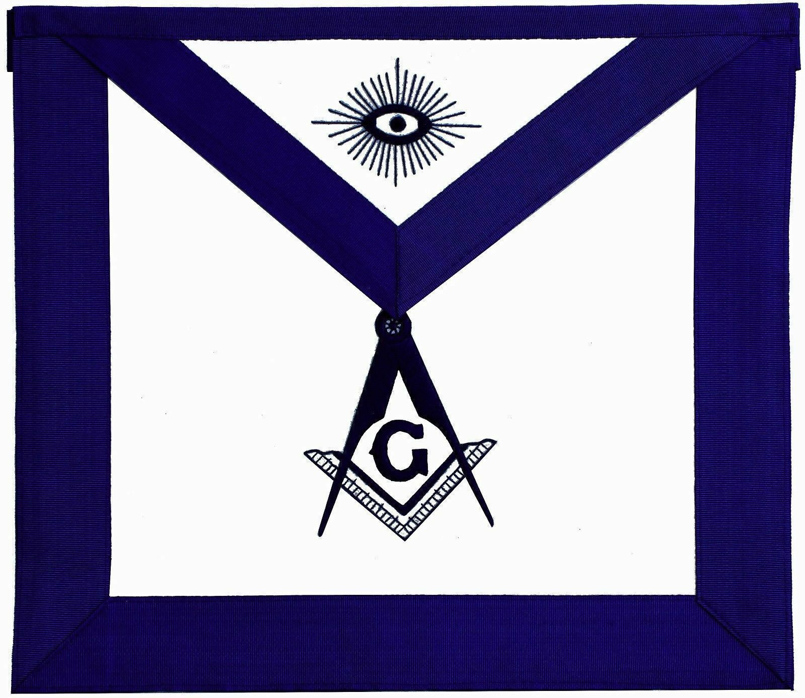 50 Pieces Mason Master Masonic Apron Design White Leather Cabin Blue Embroidery Masonic Sign Great Masonic Gift