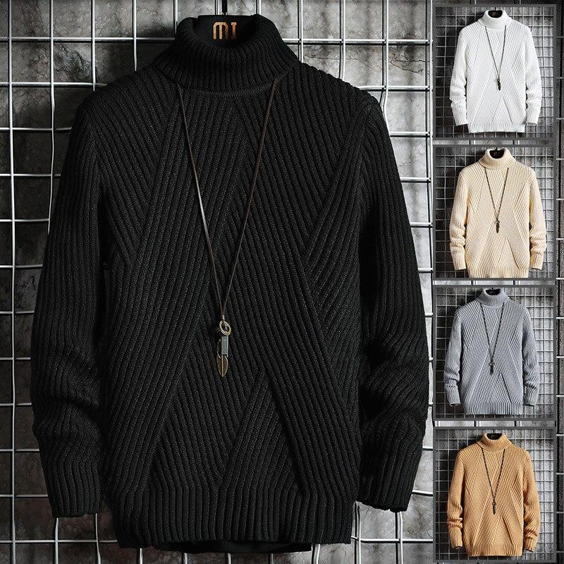 2020 Fall/Winter Men's Turtleneck Sweater Korean Slim Young Student Turtleneck Lapel Sweater Sweater Knitted Base Shirt Trend 1
